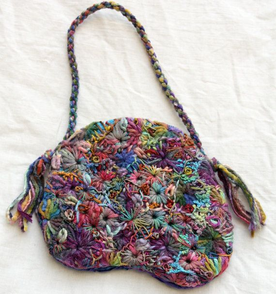 Hand Embroidered Small Rainbow Bag by PingWynny