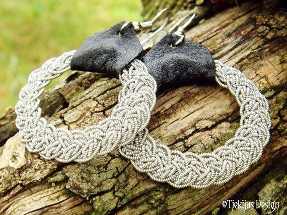 Swedish Sami Earrings VIMUR Scandinavian Viking Jewelry Handcrafted in Spun Pewter Silver wire, Silksoft Reindeer Leather and Steel Earwires ... from Tjekijas Sami Design.