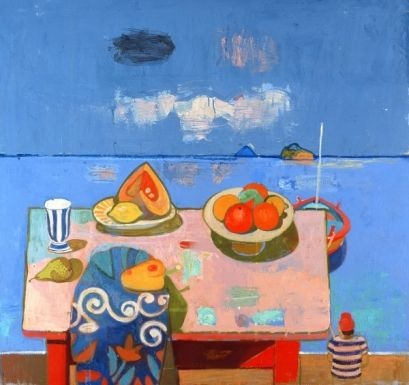 Still Life looking towards Stromboli and Panarea (oil on canvas) by Leon Morrocco on The Bazaar