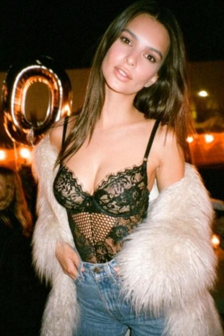 Emily Ratajkowski wearing Gooseberry Intimates Honey Bee Bodysuit and House of Harlow 1960 Marisa Faux Fur Coat