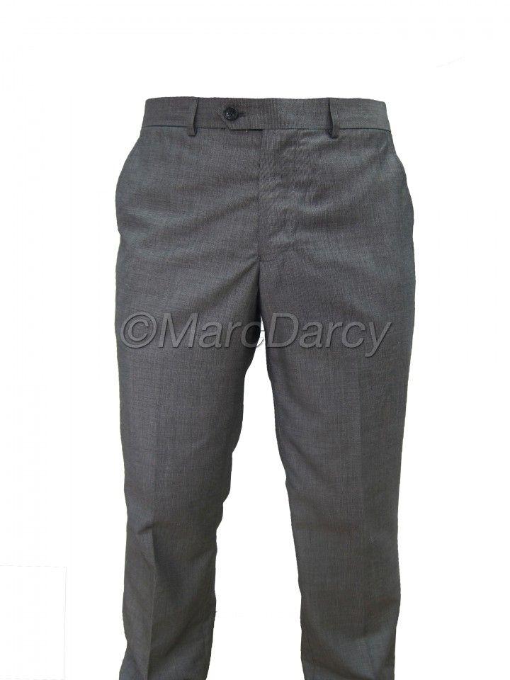 Mens light Grey Plain Front Regular Fit Trousers