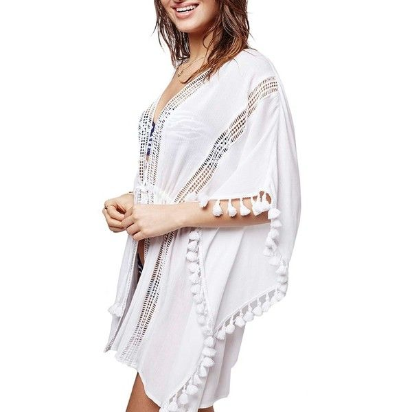 Topshop Lace Detail Caftan Cover-Up ($58) ❤ liked on Polyvore featuring swimwear, cover-ups, white, white beach cover ups, white kaftan, caftan swim cover up, beach kaftan and beach cover up