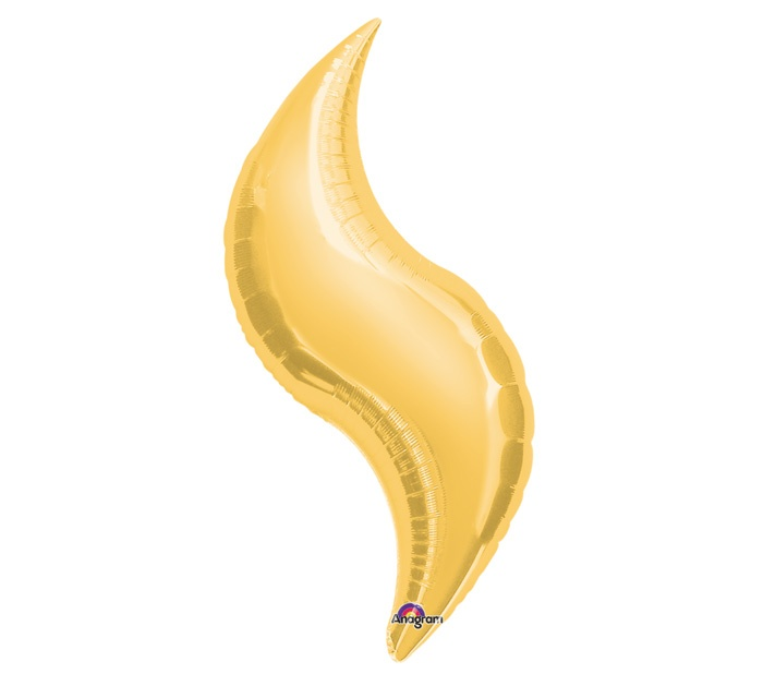 """#burtonandburton 42"""" Gold Curve shape foil balloon.42""""H X 16""""WAir or helium fill.Has a self sealing valve.Methods to connect:Point to point-small cable tiePoint to edge-clear tape or hook   loop closureEdge to edge-hook   loop closure.Sold in multiples of 3."""