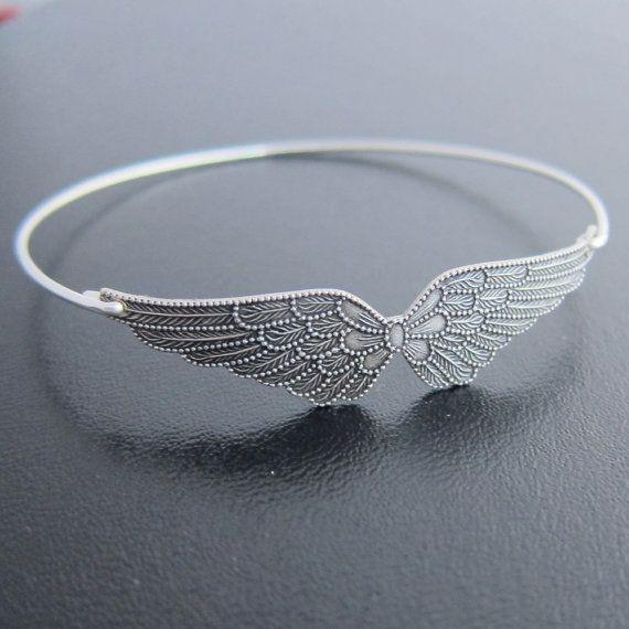 Double Wing Bracelet Silver Wing Bangle Bracelet by FrostedWillow