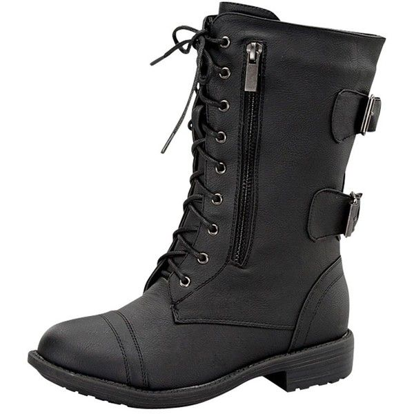 Top Moda Pack-72 Black Military Lace up Mid Calf Combat Boot ($20) ❤ liked on Polyvore featuring shoes, boots, black boots, mid-calf lace up boots, mid calf combat boots, combat booties and black army boots