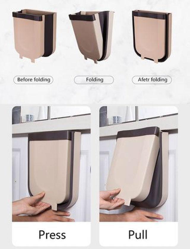 Wall Mounted Folding Waste Bin Space Saving Gadgets Abbyspace Com Trash Can Trash Bins Trash
