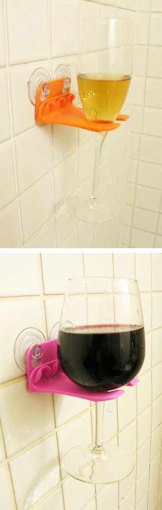 Shower wine glass holder // Is it bath time or wine time - or both?! Genius! So clever... **IMPORTANT** Be quick if you want it... it's only for sale til Sat 19th April via Kickstarter! #product_design