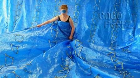 Who said the 59 cent recyclable shopping bags from Ikea were only to be used for carrying around your purchased goods?!?  Ida-Marie Corell bought 555 blue Ikea bags for $330, which probably made her...