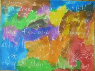 OPEN HOUSE: Parents write a secret message with white crayon. Kids colour the paper the next day to read the message. :)