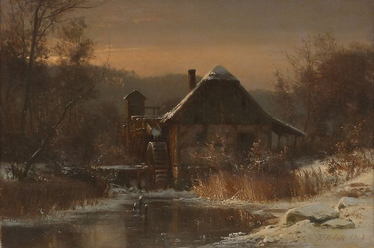 Cottage with water wheel in winter landscape,1862 by Frederik Niels Martin Rohde