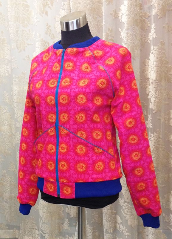 Hits jacket, here in pink-yellow-red flower print. Unique piece.