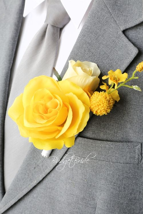 Davids Bridal Canary yellow and bright yellow boutonniere mens flowers.