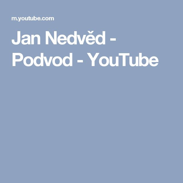 Jan Nedvěd - Podvod - YouTube
