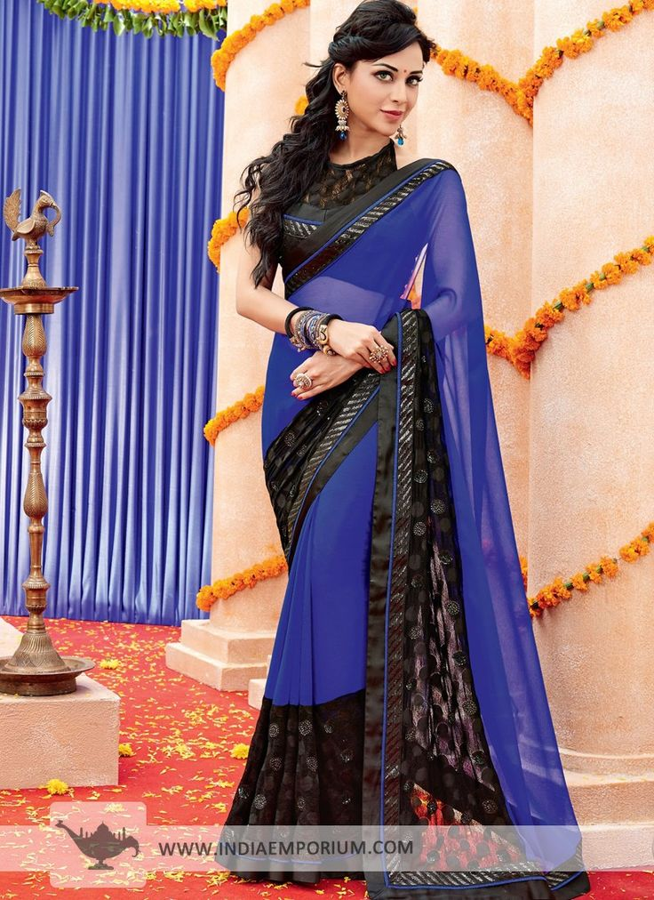 Navy Blue Tantalizing Chiffon #Saree  #Tanuwedsmanureturns