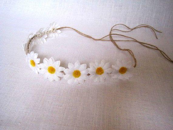 White Daisy Hair Crown bridal flower head piece by FlowerDecoupage, €13.75