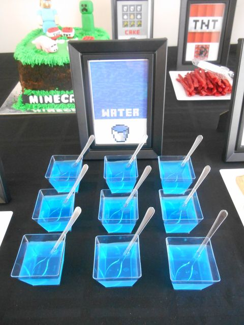 Blue jello water at a Minecraft birthday party!  See more party ideas at CatchMyParty.com!