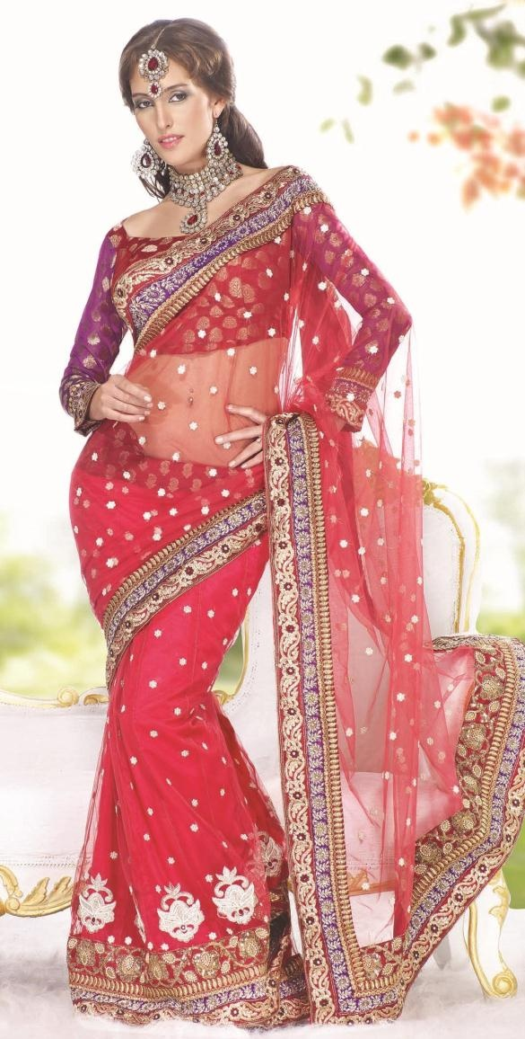 $106.15 Red Net Lehenga Saree 13867: Lankan Indian Fashion, Sri Lankan Indian