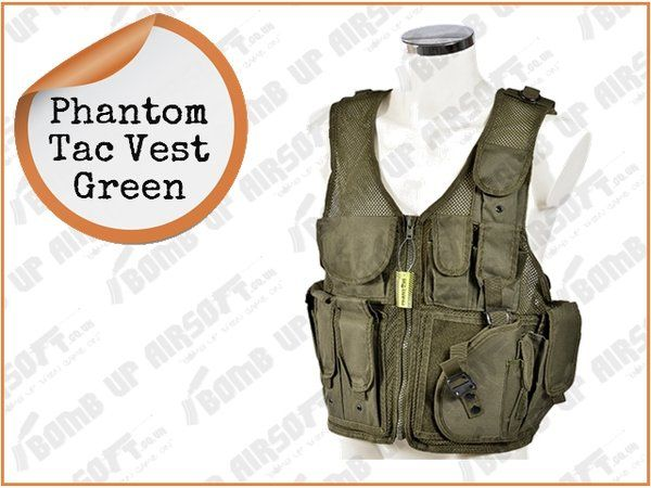 Phantom Tac Vest Green | Airsoft Shop | Bomb Up Airsoft Ltd