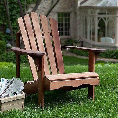 Ergonomic style Outdoor Patio Adirondack Chair in Red Shorea Wood
