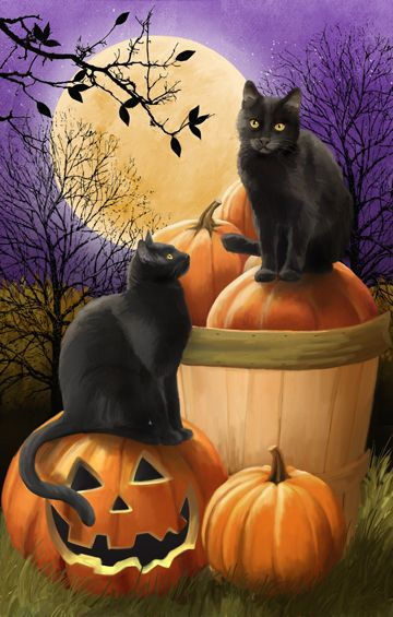Midnight Rendezvous by Thomas Wood ~ Halloween ~ black cats ~ Jack-o-Lantern ~ harvest moon