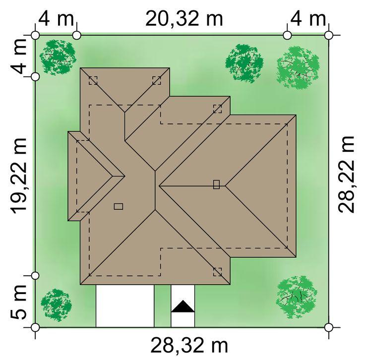 Działka 28.32 × 28.22 m domu Goliat III NF40