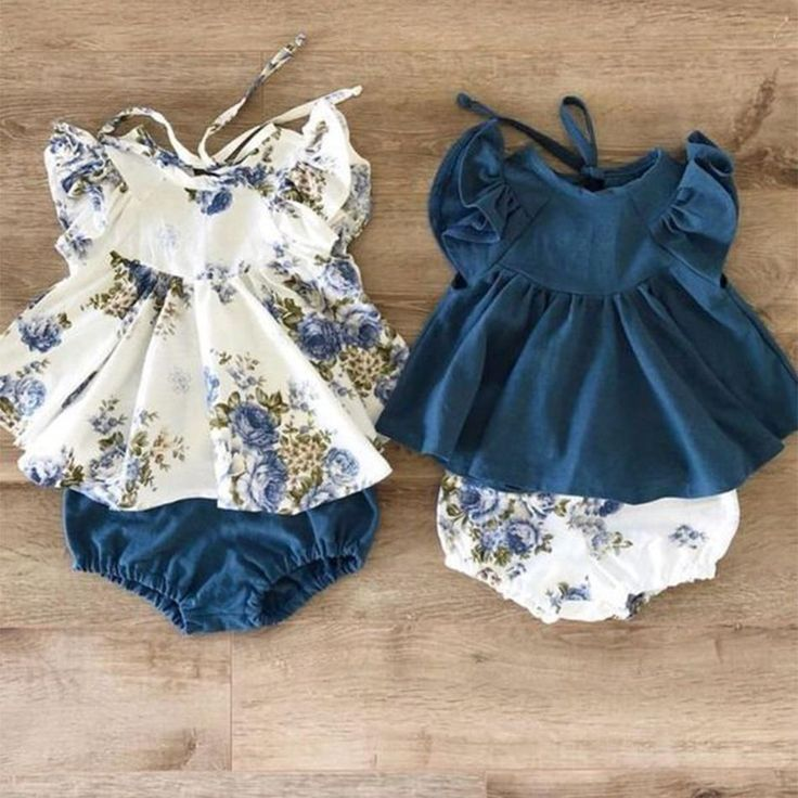 2-piece Flutter-sleeve Top and Shorts for Baby Girl – ☆베이비