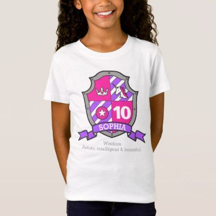 #Sophia name meaning 10th birthday princess knight T-Shirt - #giftidea #gift #present #idea #10th #tenth #bday #birthday #10thbirthday #party #teen