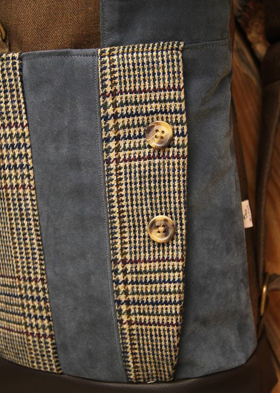 Brown upcycled roll top rucksack using parts from men's vintage checked suit, by 'eating the goober'