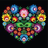 Polské, slovanské lidové umění umění srdce s květinami na černém - wzory lowickie, wycinanka — Stocková ilustrace #50156679