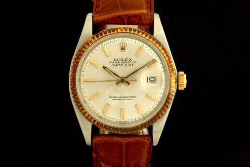 Rolex Datejust (ca. 1950-51)  Krokolederarmband, Silbernes Zifferblatt,Goldene Strich Indexe  Referenz: 1601 | 0,70 Mio-Serie  http://www.juwelier-leopold.de/uhren/rolex/vintage_3.html
