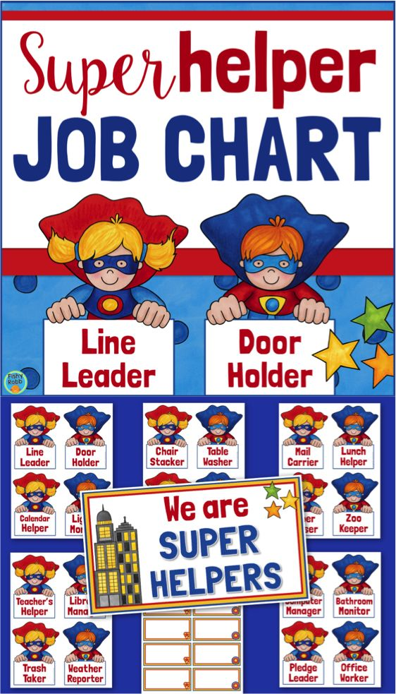 This is a classroom jobs chart in a fun superhero theme! Includes 20 job cards, title card, and student name tags. Also has editable cards to make more.
