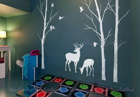 Birch trees decals, deer wall decals, nature wall decals, vinyl wall decal, wall decal stickers, birch tree, nursery wall stickers-DK112 75.00
