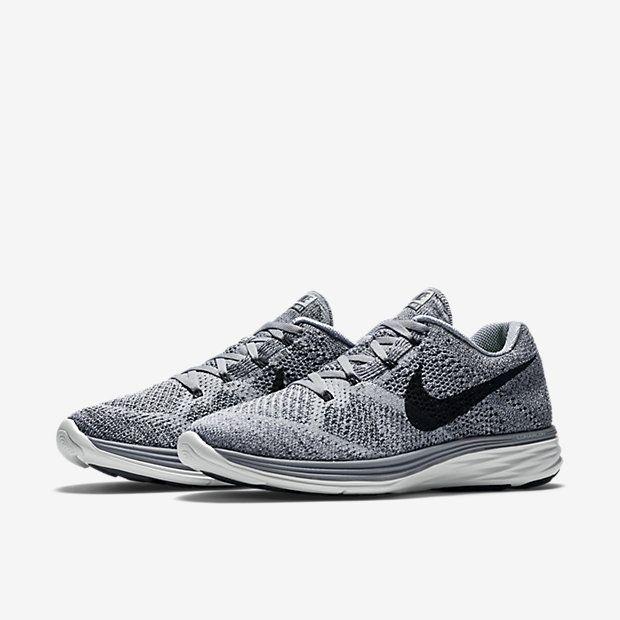Buty Do Biegania Nike Flyknit Lunar 3 Damskie Szare Białe Czarne Szare