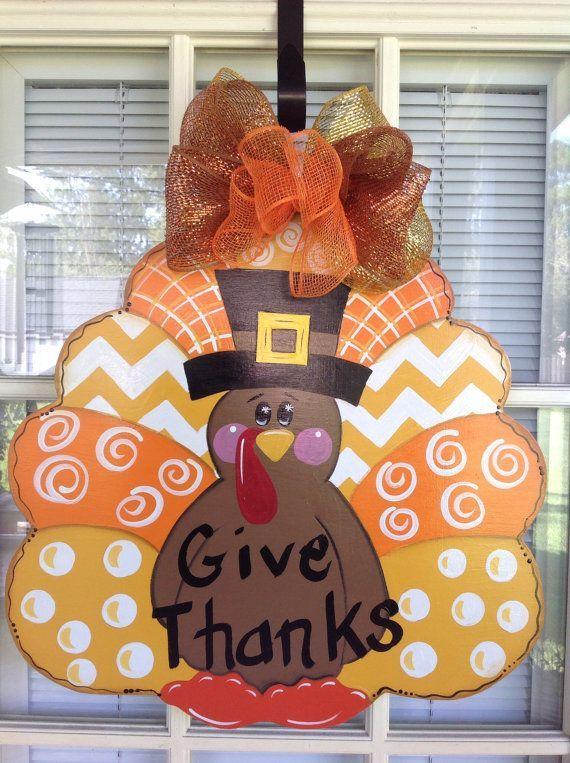Thanksgiving turkey door hanger Ready to Ship by samthecrafter