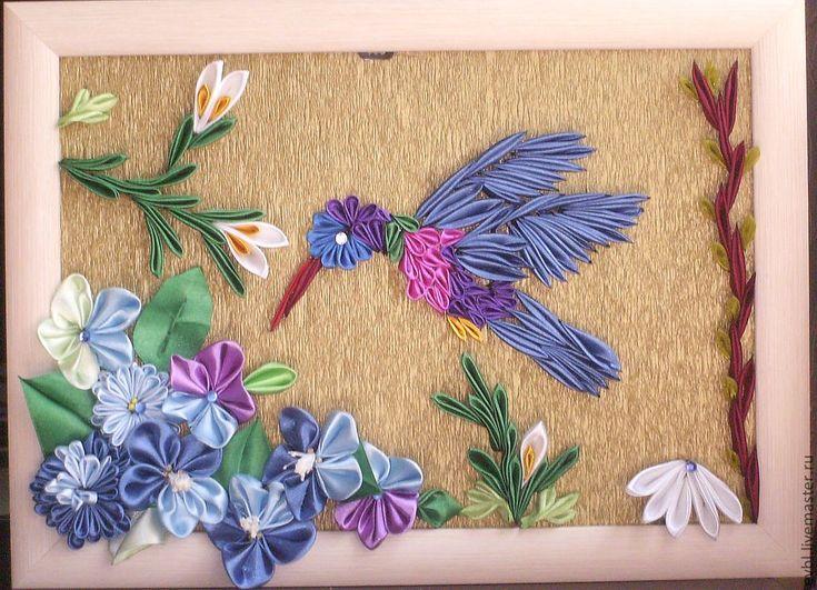 Колибри - панно,подарок,украшение интерьера,Декор,атласные ленты,бисер