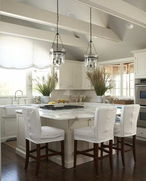 Pottery barn lantern pendants vaulted ceiling beams i for Vaulted ceiling kitchen designs