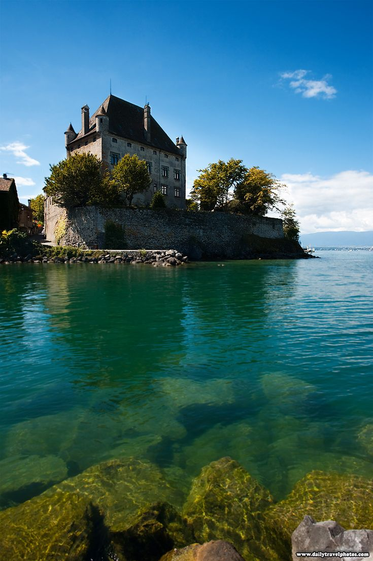 An ancient castle at Yvoire floats in Lake Geneva, Haute-Savoie, France!