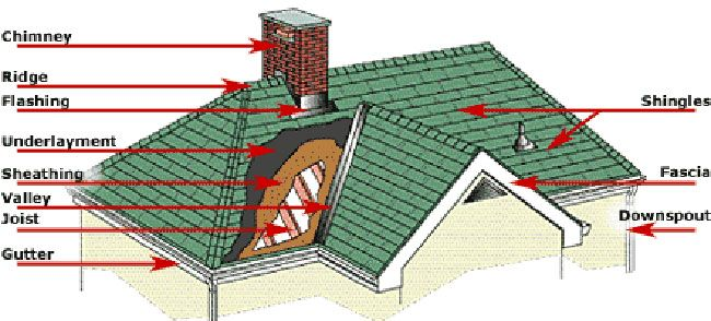 Different types of roofing components in roof structures for Building terms with pictures