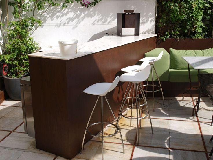 Fant stica barra americana para exterior y jard n acero for Bar madera moderno