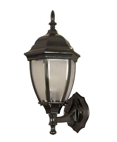 Beacon Lighting - Nottingham small 1 light exterior wall bracket in black  with frosted glass panels