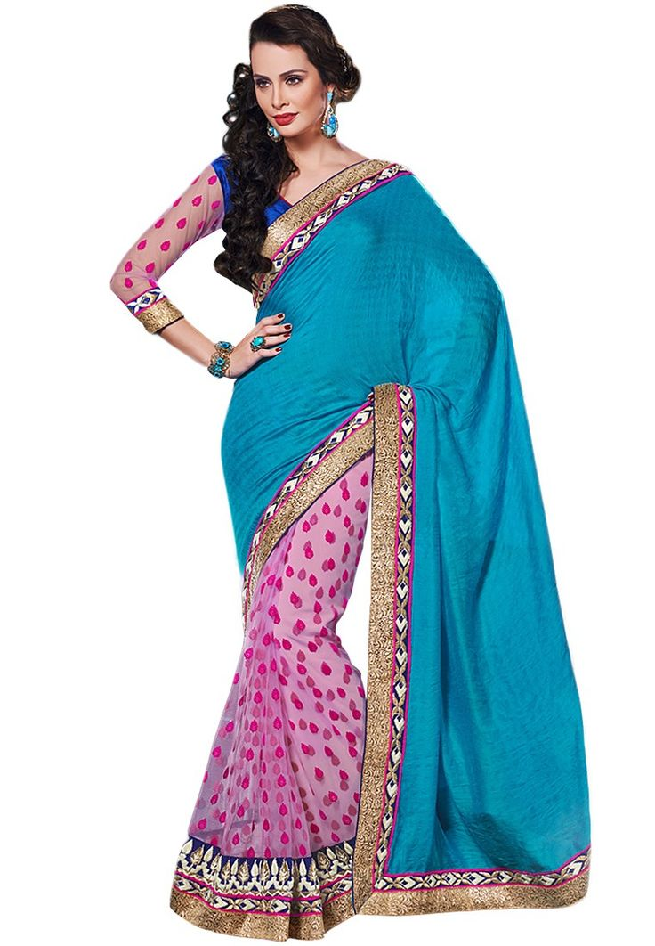 Viscose Blue Embroidered Saree at $155.80 (24% OFF)