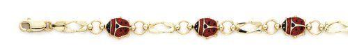 14k Enamel Ladybug Bracelet - 7.25 Inch - JewelryWeb JewelryWeb. $871.40