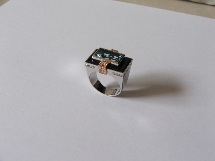 Art Déco ring, white and pink gold, with Onyx and Aquamarine. - ALL HAND MADE -