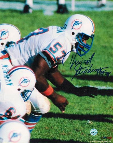 """Dwight Stephenson Miami Dolphins Autographed 8x10 Photo Inscribed """"HOF 98"""""""