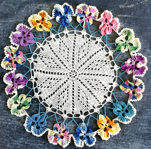 Free Crochet Flower Patterns to Print | Free Crochet Pattern – Pansy Doily