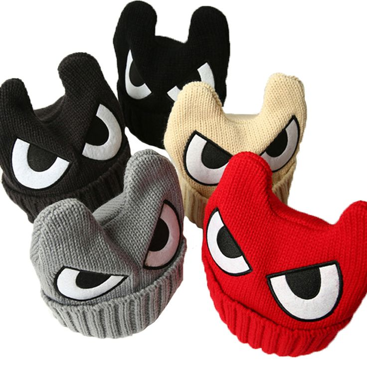 US $4.99Cheap hat quality, Buy Quality hat pad directly from China hat hijab Suppliers:  2015 Big Eyes Caps for Children OX Horn Winter Hats for Boys Warm Knitted Caps Girls Kids Beanies Hip Hop Solid Cartoon