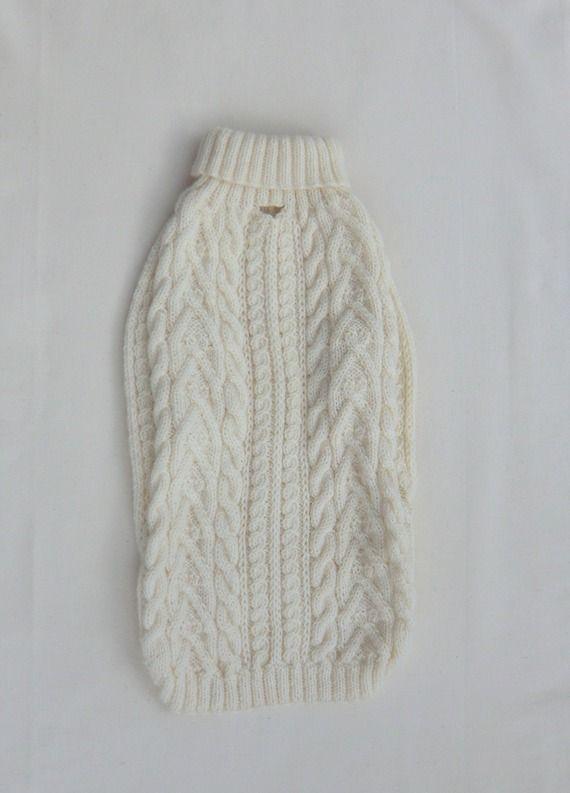 Manteau pour chien, Taille L - XL, en laine, Coloris écru, à jolis motifs de torsades, 46 cm, Tricoté à la main