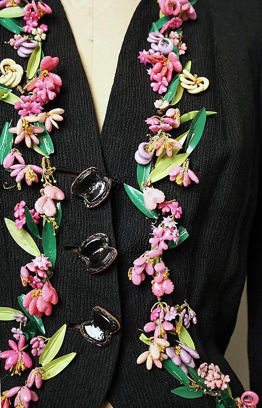 Jacket, Evening.  Elsa Schiaparelli (Italian, 1890–1973).  Date: winter 1937–38. Culture: French. Medium: silk, plastic. Dimensions: Length at CB: 22 1/2 in. (57.2 cm).  via Lin4as S