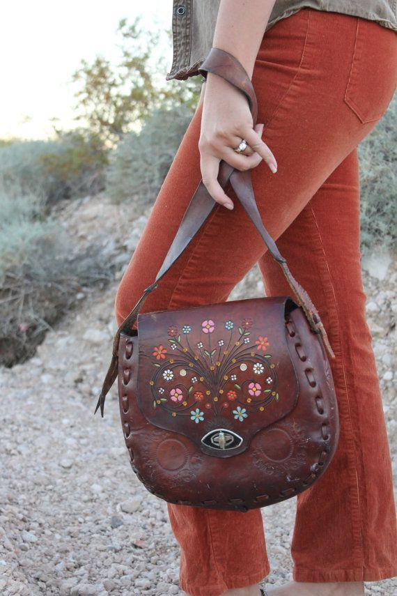 Vintage Retro Tooled Leather Hippi Boho Chic by PoobirdsRarities,