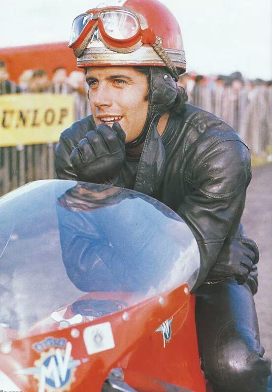 A young Giacomo Agostini astride an MV.